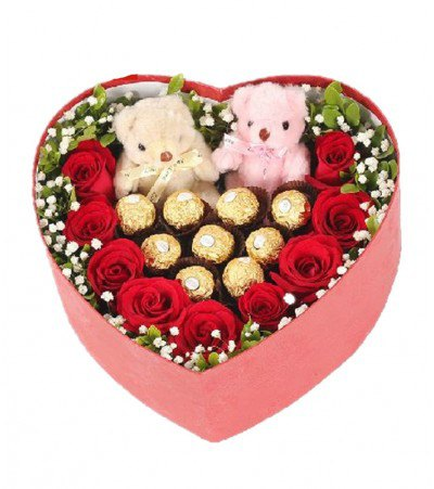 Red Roses With Ferrero Rocher in a Box