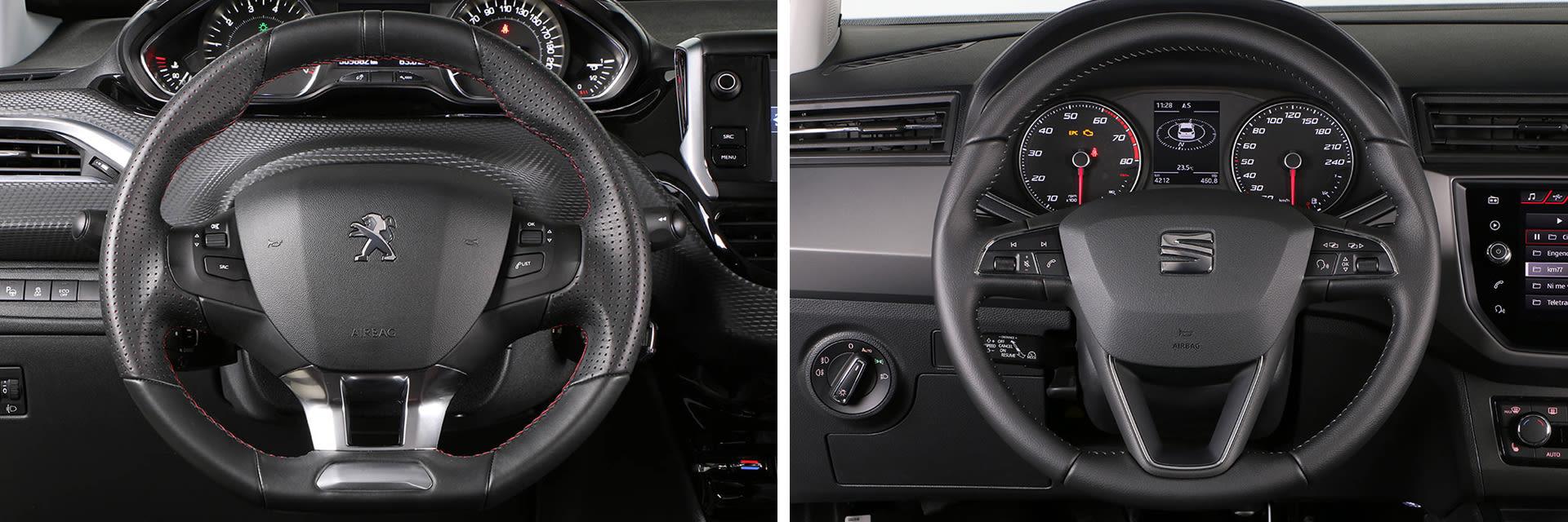 Las fotos del exterior del Peugeot 208 corresponden al acabado Blanco Perla Nacarado y las del interior a la versión GT-Line. Las fotos del exterior del SEAT Ibiza corresponden a la versión Excellence y las del interior al acabado Style. Fotos cedidas por km77.