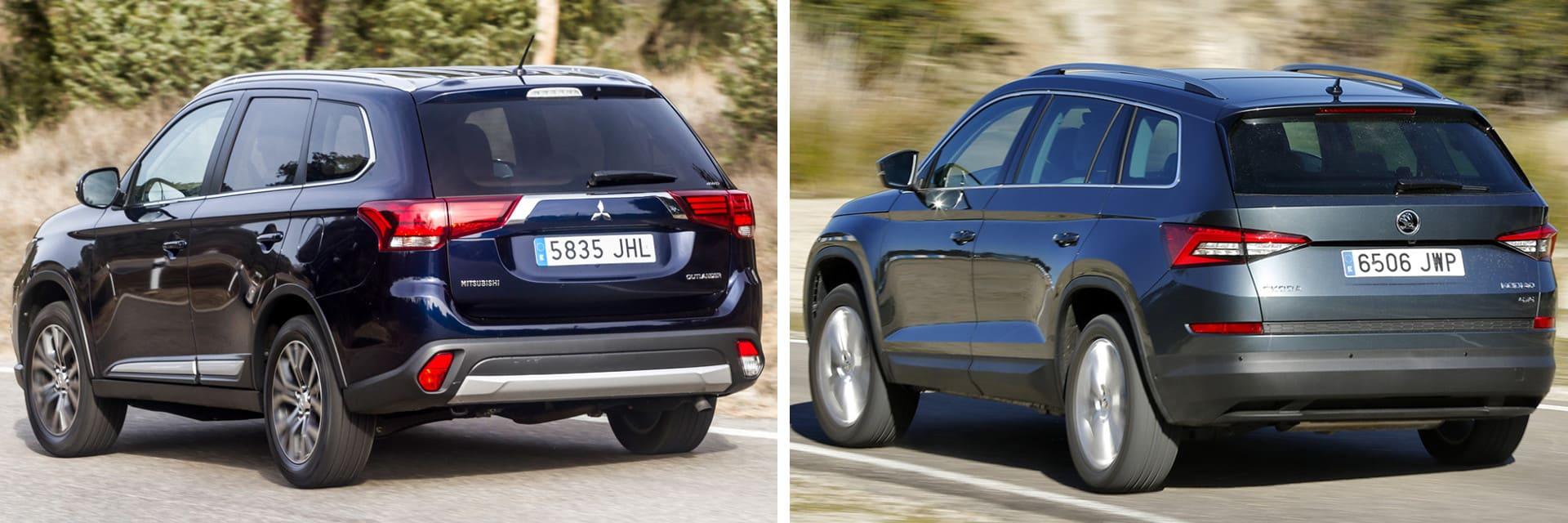 Las fotos del Mitsubishi Outlander corresponden al acabado indicado. Las fotos del Skoda Kodiaq corresponden al acabado indicado. Fotos cedidas por km77.