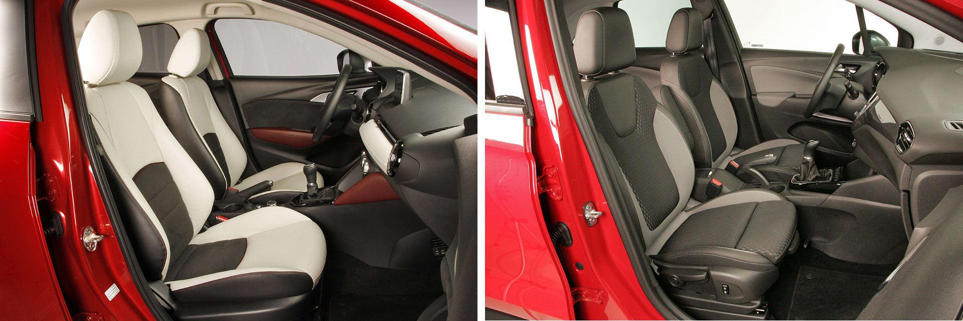 Las fotos del Mazda CX-3 corresponden al acabado Luxury. Las fotos del Opel Crossland X corresponden al acabado Selective. Fotos cedidas por km77.