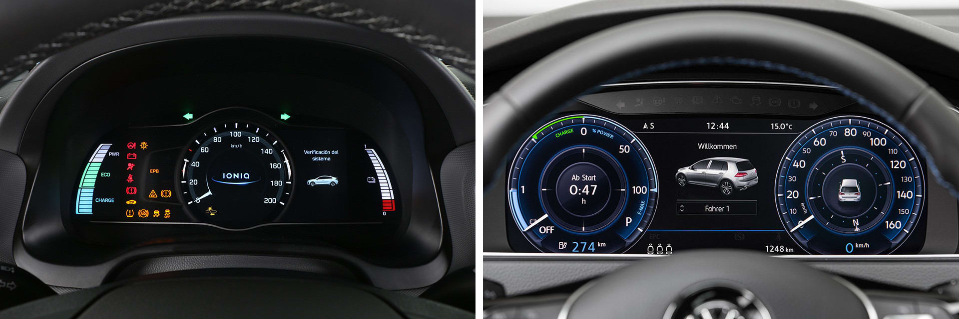 Ambas instrumentaciones muestran una información clara y detallada. La del Volkswagen (dcha.) es más grande, de 12,3 pulgadas.
