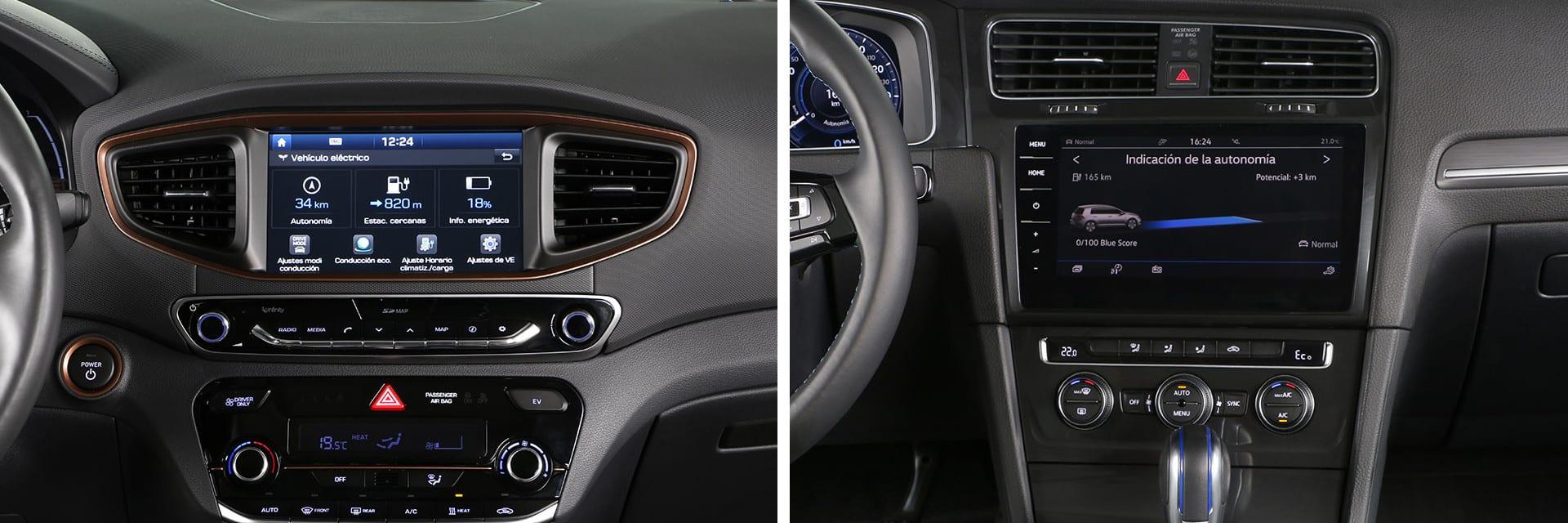 La pantalla del Volkswagen (dcha.) pueda manejarse mediante gestos y voz.