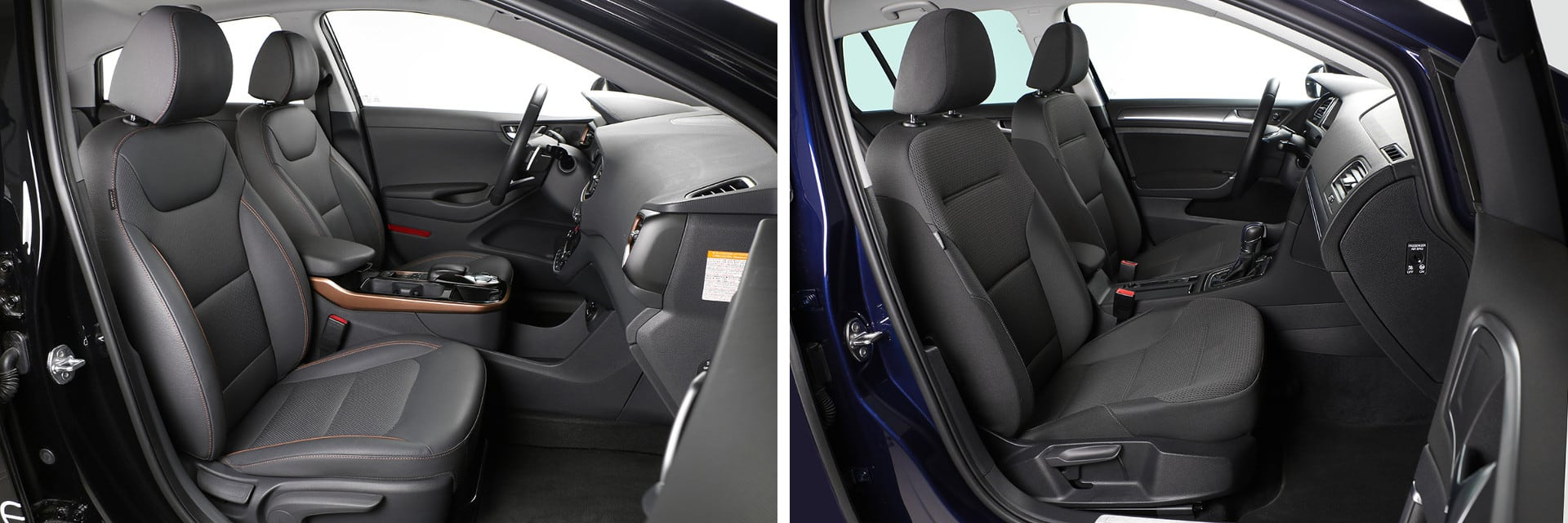 El IONIQ Style (izq.) viene de serie con unos asientos delanteros de cuero, con regulación eléctrica, calefacción y ventilación.