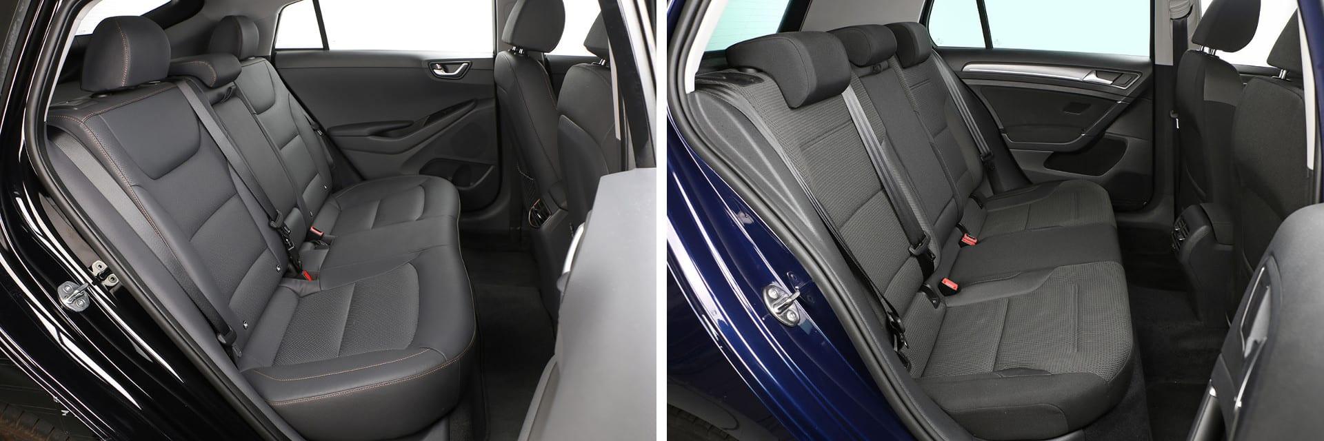 El Volkswagen (dcha.) tiene más altura en las plazas traseras, siendo más apropiado para personas que superan los 1,80 metros de estatura.