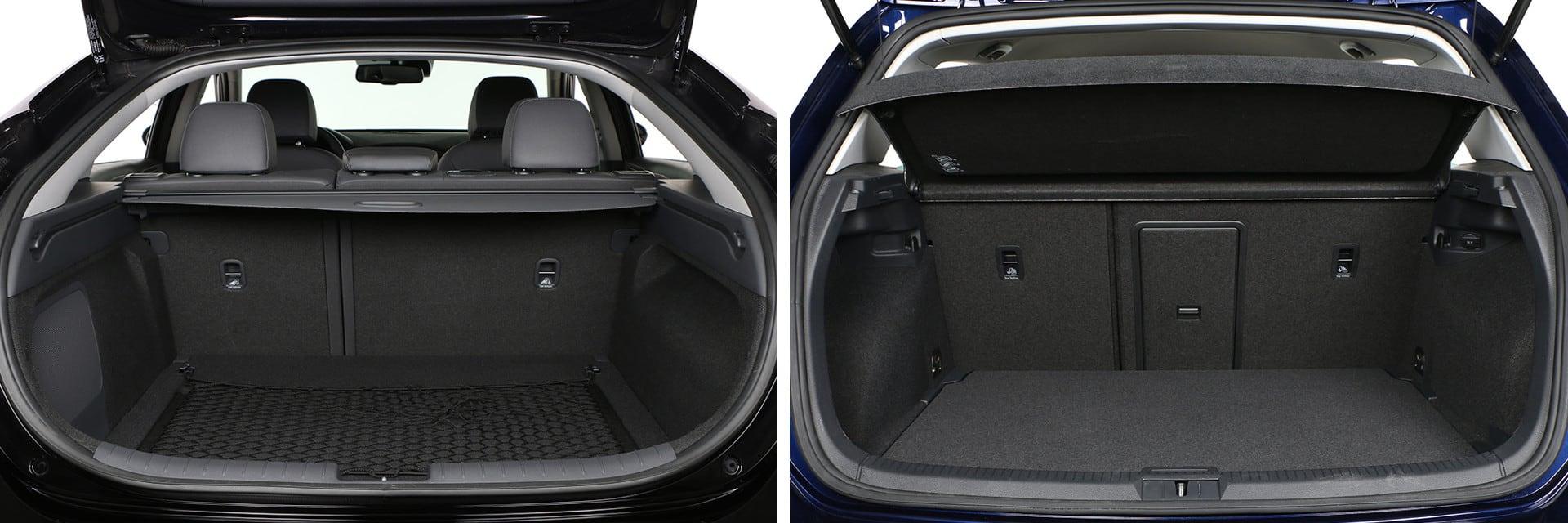El maletero del IONIQ (izq.) tiene 350 litros, mientras que el del e-Golf (dcha.) tiene 341.