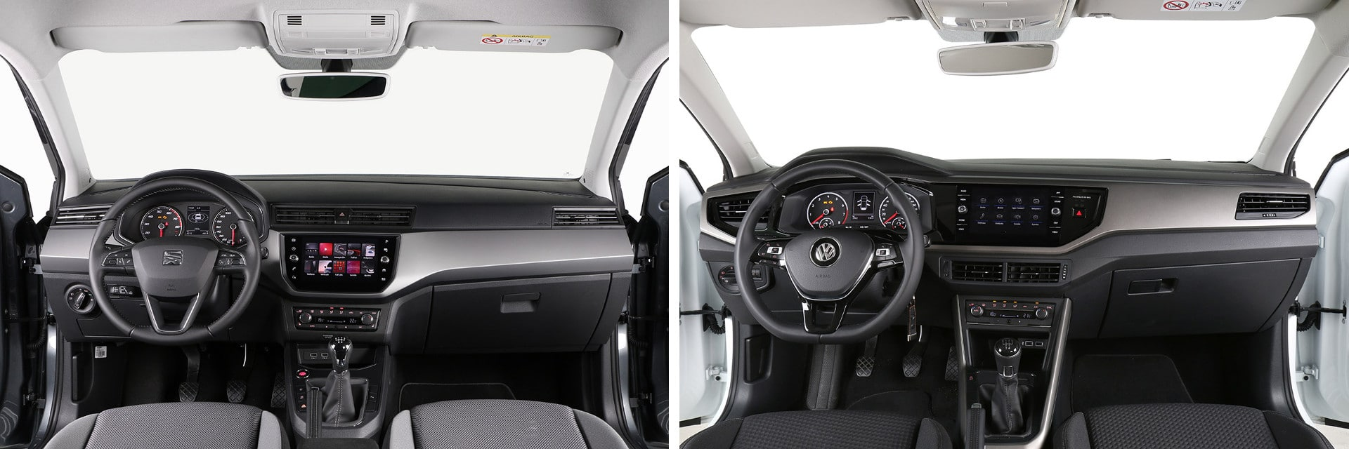 El Volkswagen Polo (izq.) cuenta con materiales de nayor calidad en su interior que el Ibiza (dcha.)
