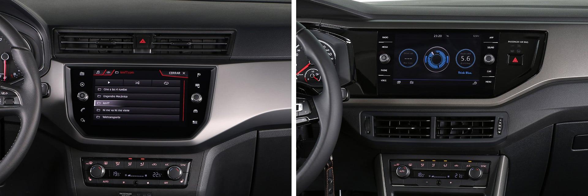 A diferencia de la del Ibiza (izq.), la pantalla central del Polo (dcha.) es compatible con Apple CarPlay y Android Auto y dispone de la función Mirror Link que replica la pantalla de un teléfono móvil.