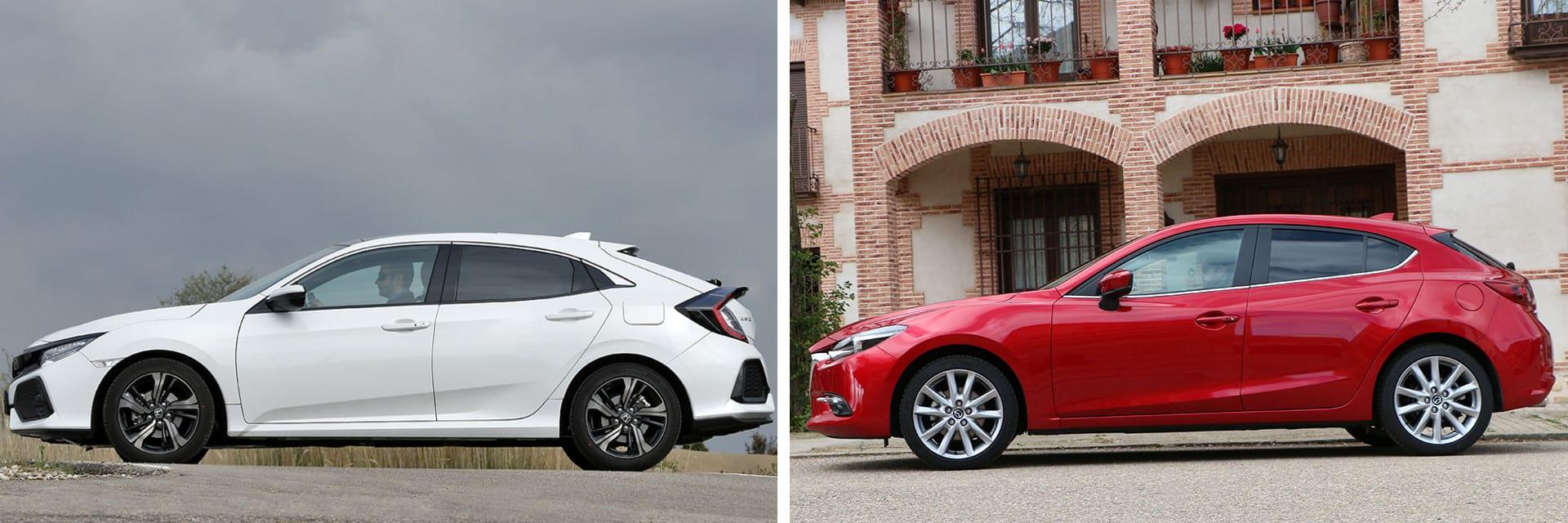 De las dos versiones comparadas, la del Mazda3 (dcha.) es 2595 euros euros más barata, aunque Honda tiene una versión más económica por 20 400 euros.