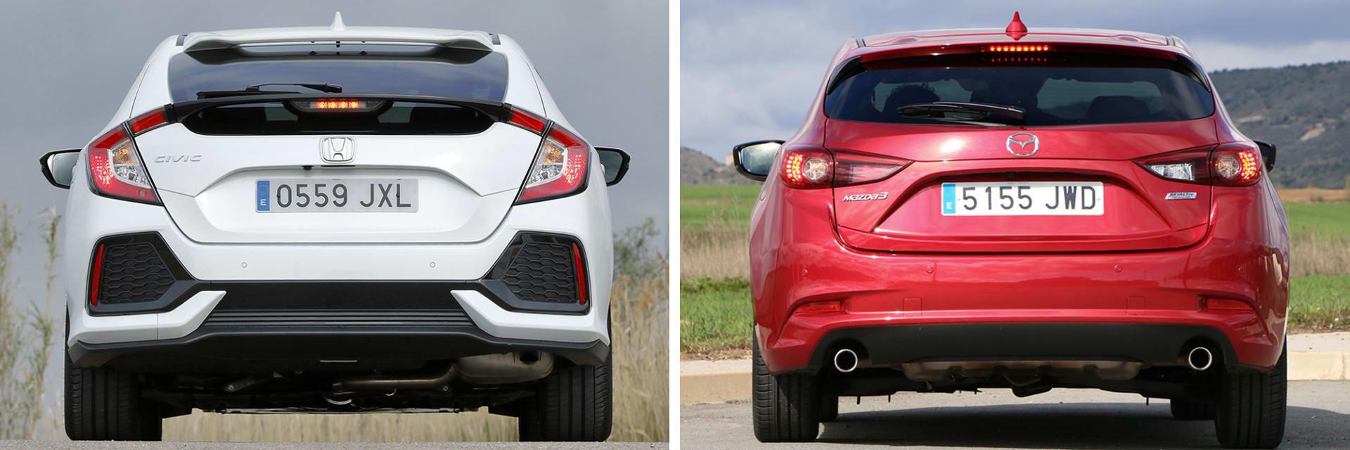 El Mazda3 Zenith (dcha.) viene de serie con una luz de freno de intensidad variable, algo que en el Honda (izq.) no está disponible ni como opción.