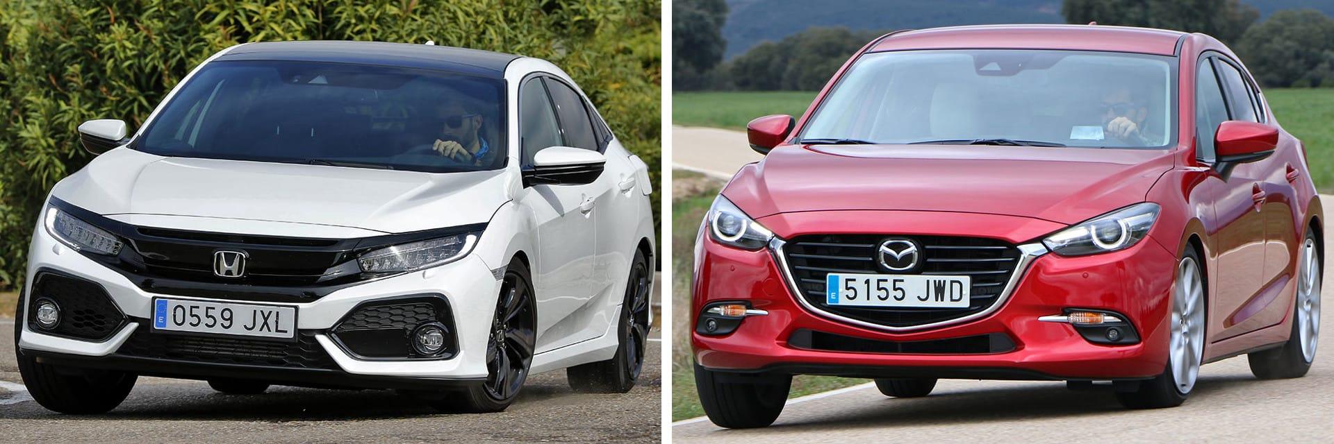Para pasar de 80 a 120 km/h en sexta velocidad, el Civic (izq.) tarda casi 10 segundos menos que el Mazda3 (dcha.): 15,8 segundos por los 25 del Mazda.