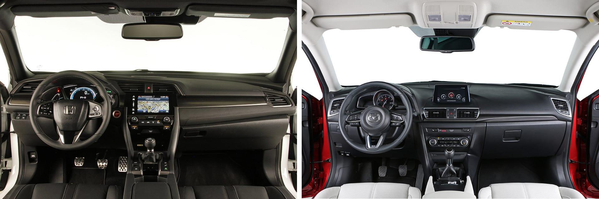Los materiales utilizados en el interior del Mazda3 (dcha.) son más refinados que los del Civic (izq.)