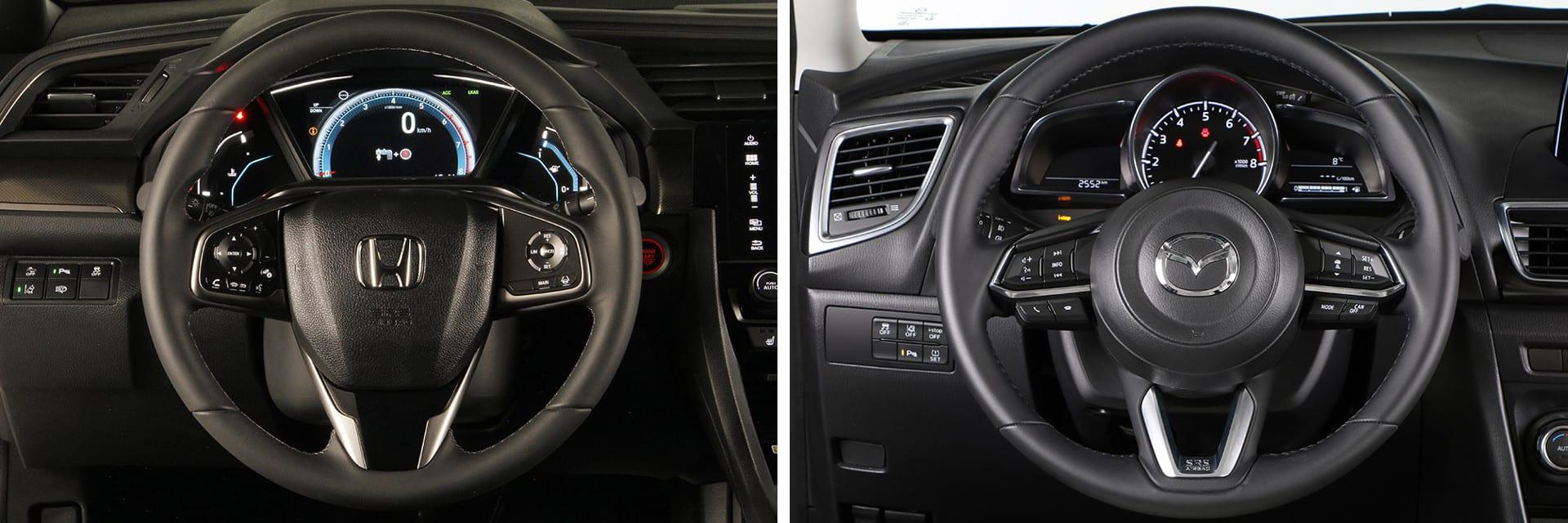 Ambos volantes cuentan con ajuste tanto vertical como horizontal. También vienen de serie con mandos multifunción.