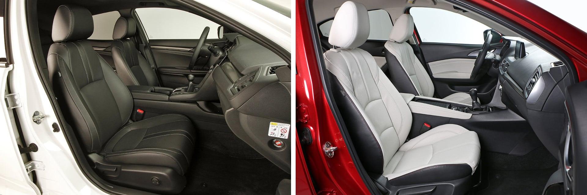 El Honda Civic con el acabado Elegance (izq.) viene de serie con los asientos delanteros calefactados, algo que en el Mazda3 (dcha.) no está disponible.