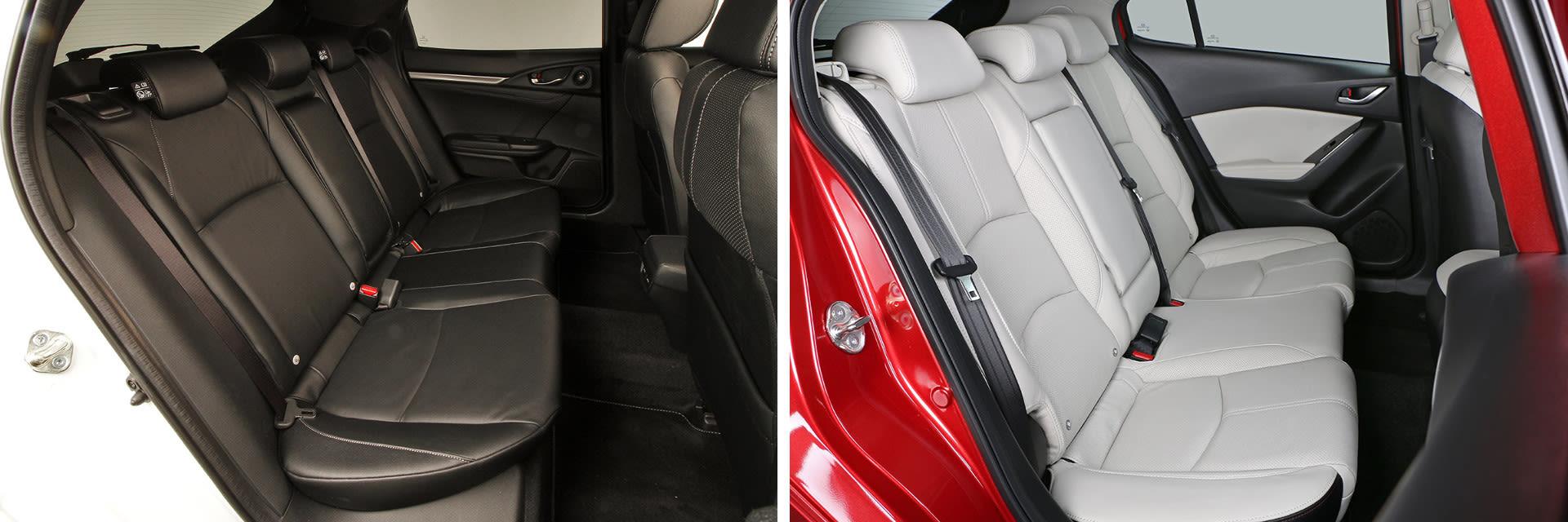 El Civic (izq.) tiene mayor espacio en las plazas posteriores que el Mazda3. Cuenta con 4 cm más de anchura y 5 cm más de espacio para las piernas.