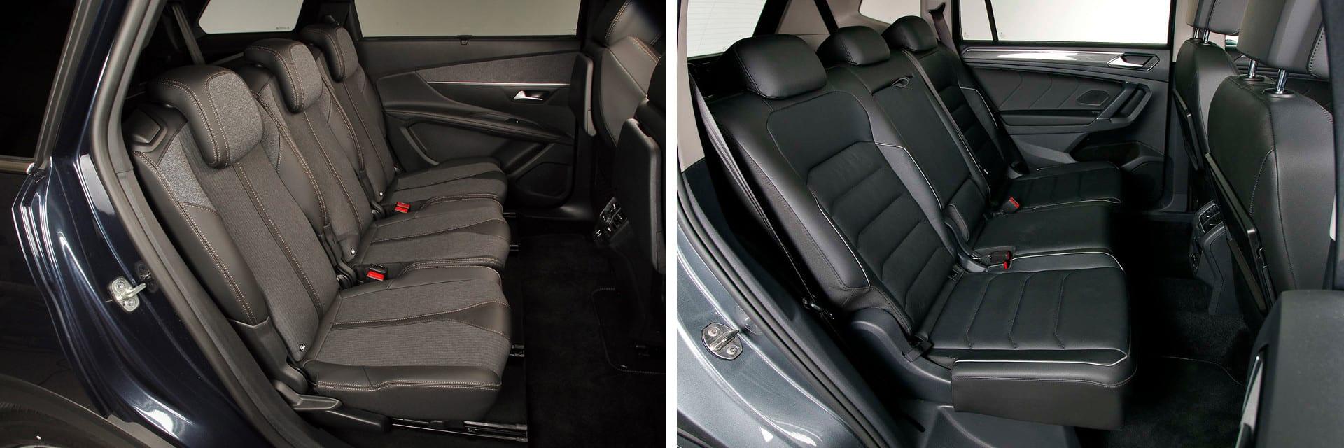 Uno de los aspectos positivos del Peugeot (izq.) es que en la segunda fila de asientos hay anclajes Isofix en las tres plazas.