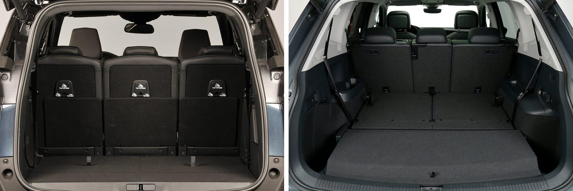 Las dimensiones del maletero con cinco plazas son muy similares: 702 litros para el Peugeot (izq.) y 685 para el Volkswagen (dcha.)