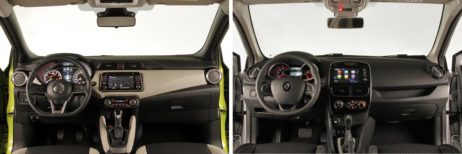 Los materiales empleados en el interior del Micra (izq.) dan la sensación de tener mayor calidad que los del Clio (dcha.)