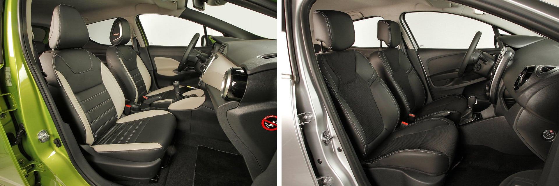 Los asientos delanteros del Micra (izq.) sujetan poco el cuerpo cuando se toman curvas a gran velocidad.