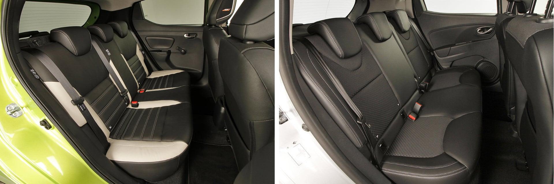 El Clio (dcha.) tiene menos anchura entre puerta y puerta trasera, lo que resta confort cuando viajan tres pasajeros atrás.