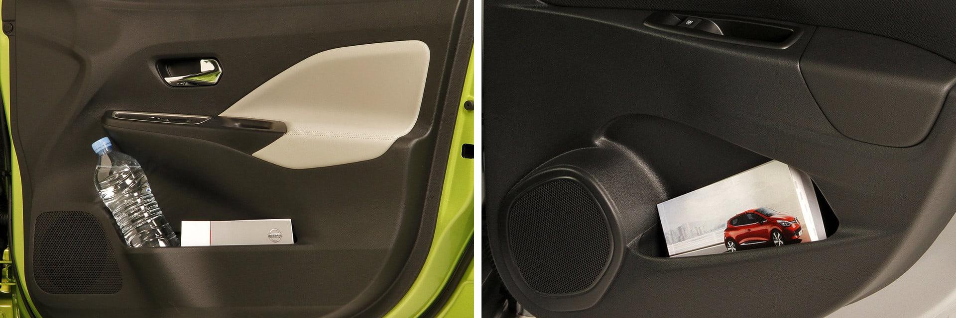 Ambos vehículos disponen de numerosos huecos portaobjetos repartidos por todo el interior.