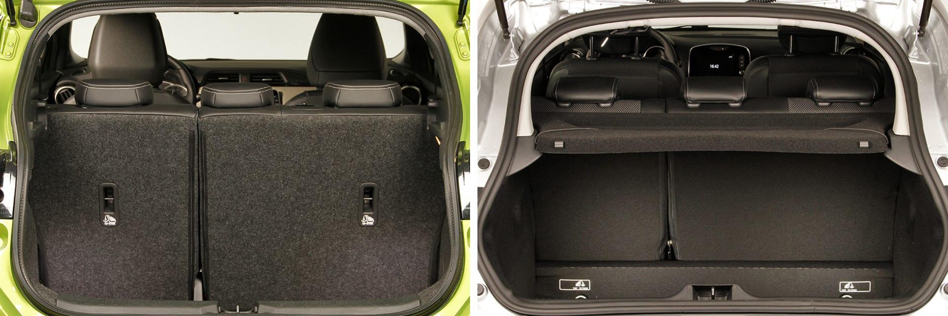 Tanto el maletero del Nissan (izq.) como el del Renault (dcha.) tienen 300 litros de capacidad.