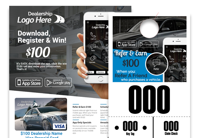 Auto Dealership in-Store Marketing Materials Hangtags and Flyers