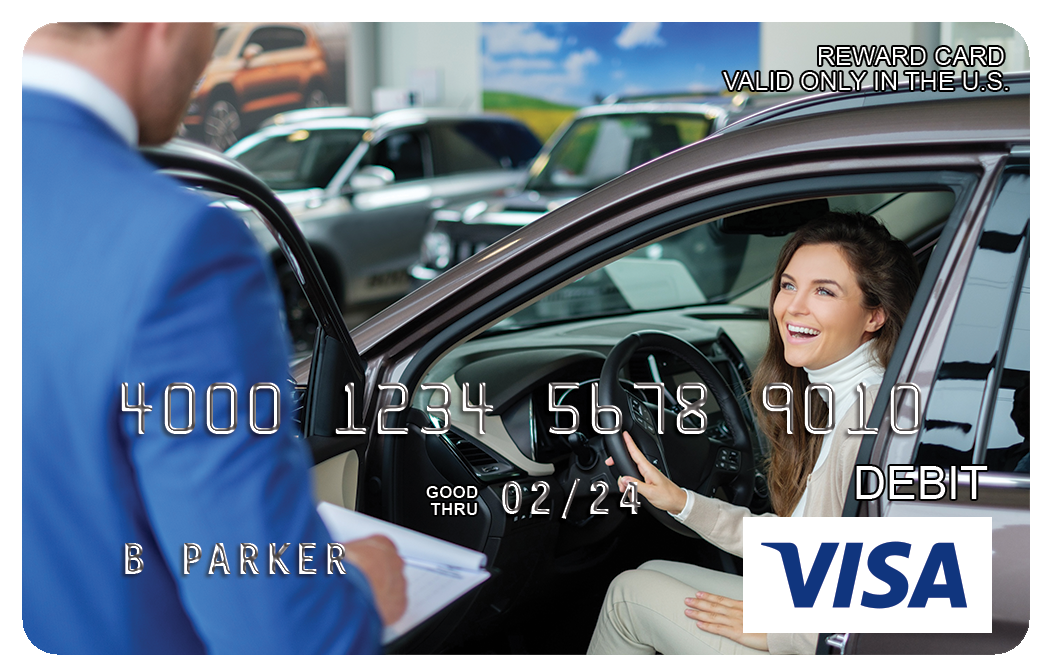 Auto Dealership Reloadable Visa Reward Cards