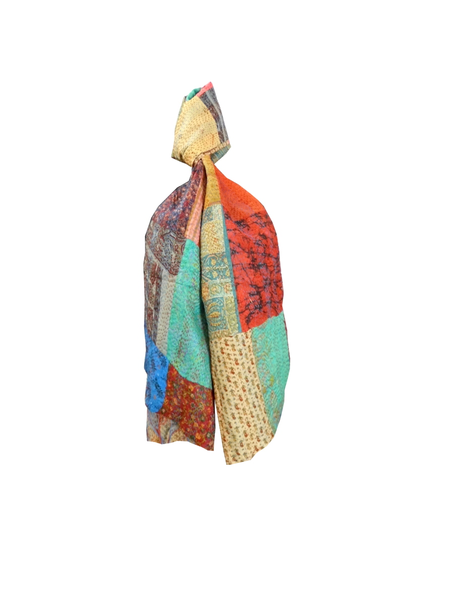 GiftPiper Reversible Patchwork Kantha Stole in Cotton Silk- Pattern 18