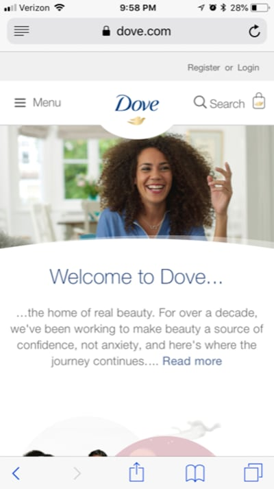 The Dove home page
