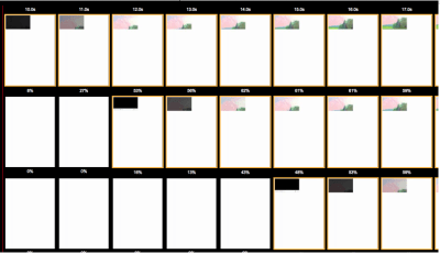 Thumbnails of 3 pages with video loading.