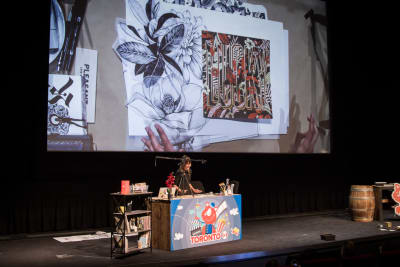 Gemma O'Brien presenting with no slides at SmashingConf Toronto 2018