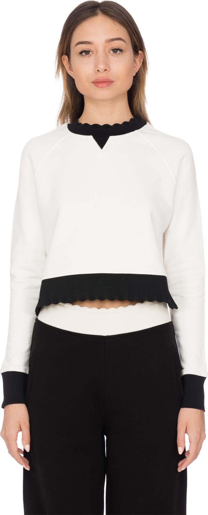 McQ Alexander McQueen  Scalloped Crop Pullover - White Black ... 9d3b346fe16