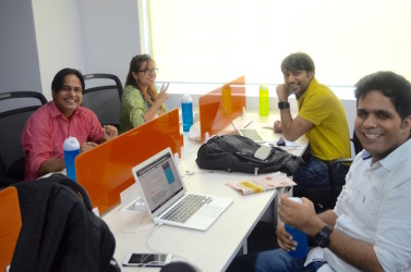 Members enjoying at our Coworking space in Golf Course Road, Gurgaon