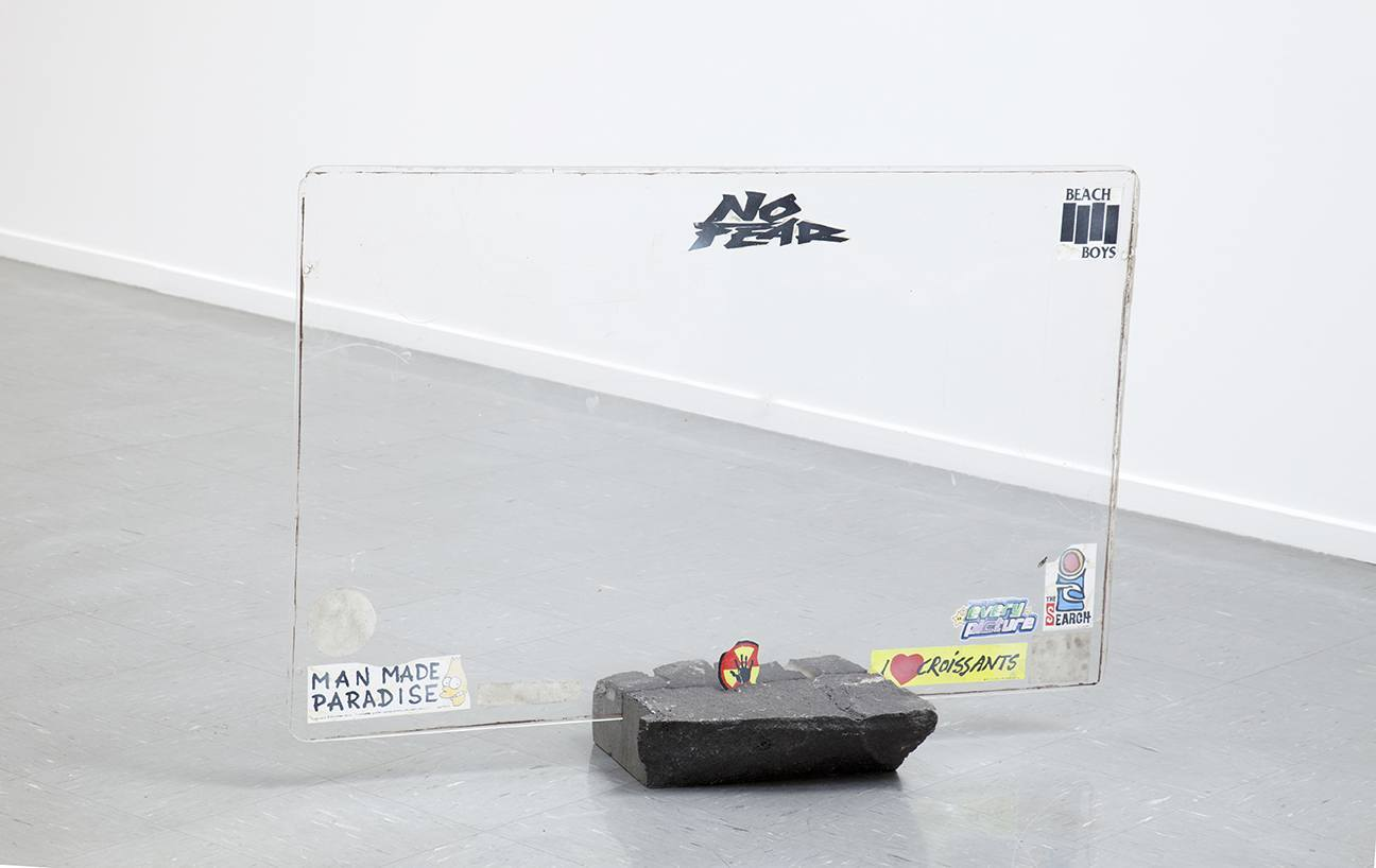 Untitled (Props), bluestone, hand made stickers and found glass - 2012 - Jackson Slattery