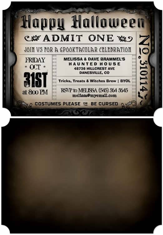 vintage Halloween Party Brown Ticket invitation by Julie Alvarez Designs