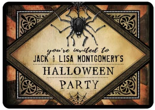 Halloween Gothic Spider Orange Halloween Party Invitation