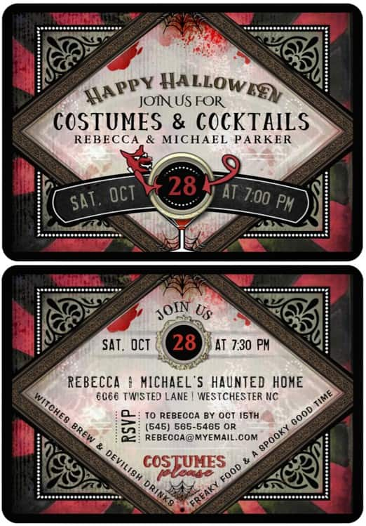 Devlish Costumes & Cocktails Halloween Party Invitation