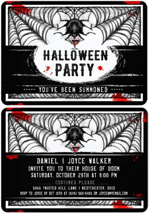 Black & White Spider Halloween Party Invite