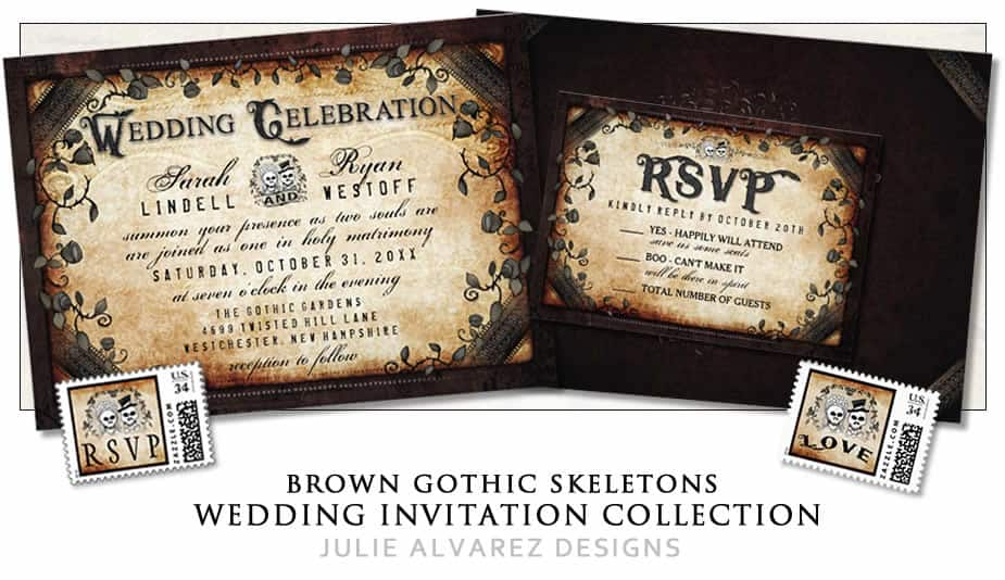 Halloween Brown Gothic Skeletons Wedding Invitation Collection