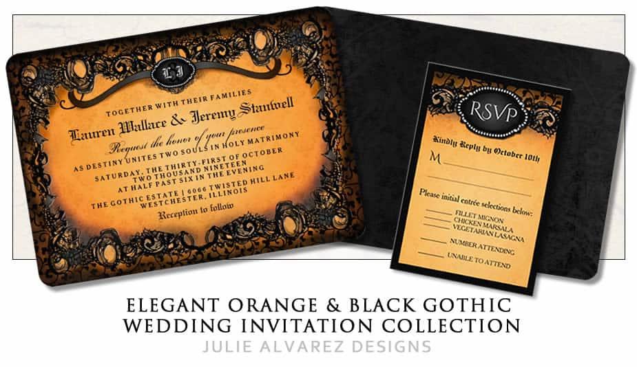 Elegant Gothic Orange U0026 Black Halloween Wedding Invitation Template ...