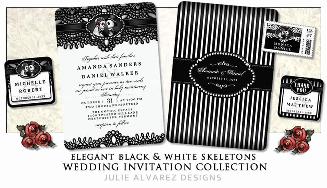 Halloween Skeletons Elegant Black U0026 White Lace Wedding Invitations