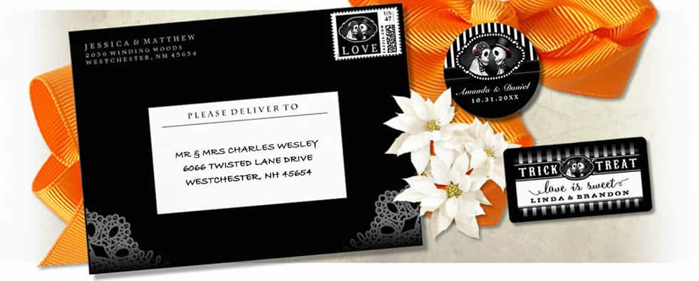 Halloween Custom Wedding Postage by Julie Alvarez Designs