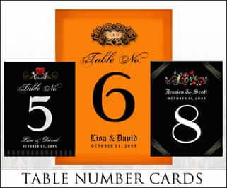 halloween wedding table number cards