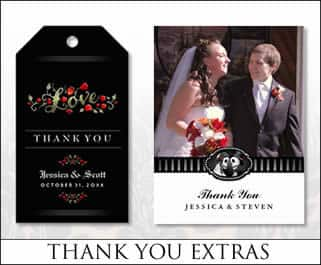 halloween wedding thank you cards & tags