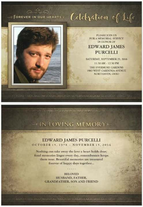 golden brown in loving memory memorial invitation card front and back