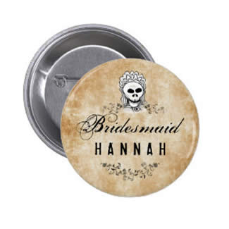 bridesmaid gothic brown halloween skeletons button pin