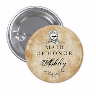maid of honor wedding button gothic brown