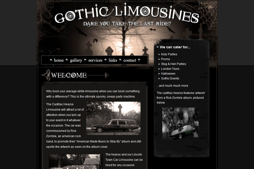 screenshot of gothic-limousines.co.uk