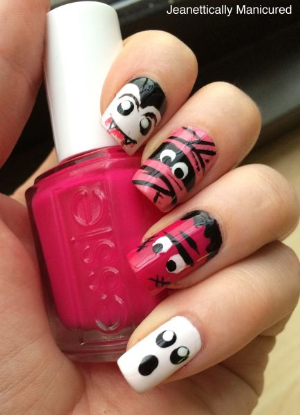 pink halloween manicure