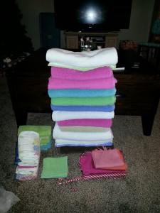This is the stack of towels we used to clean up the water. This is pretty much EVERY bath towel I own, washed three times to get rid of all the starch! :) So funny!